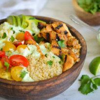 Chicken & Quinoa Burrito Bowls with Spicy Green Sauce