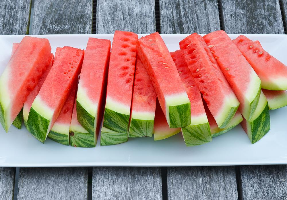 watermelon sticks on platter