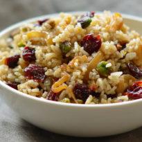 Rice Pilaf with Caramelized Onion, Orange, Cherry & Pistachio