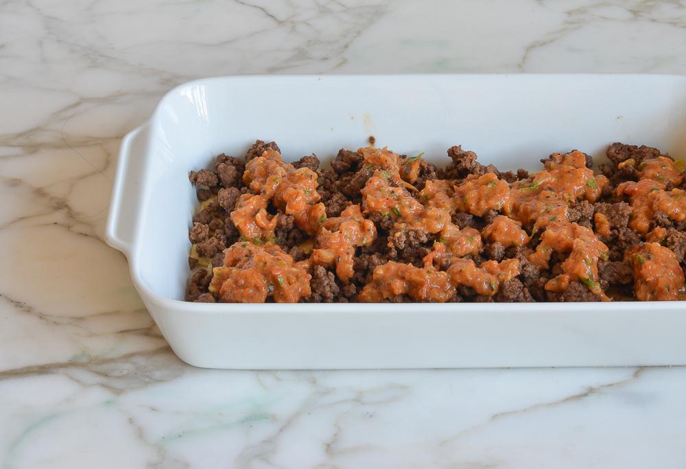 Stacked Beef Enchilada Casserole