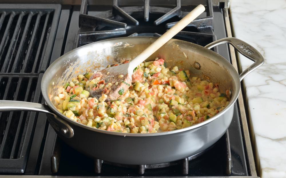 how to make creamy corn, zucchini and tomatoes