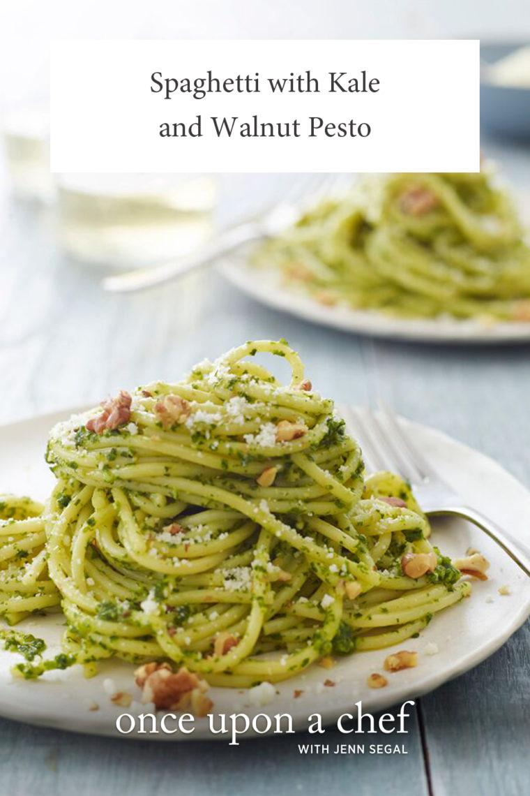 Spaghetti with Kale and Walnut Pesto