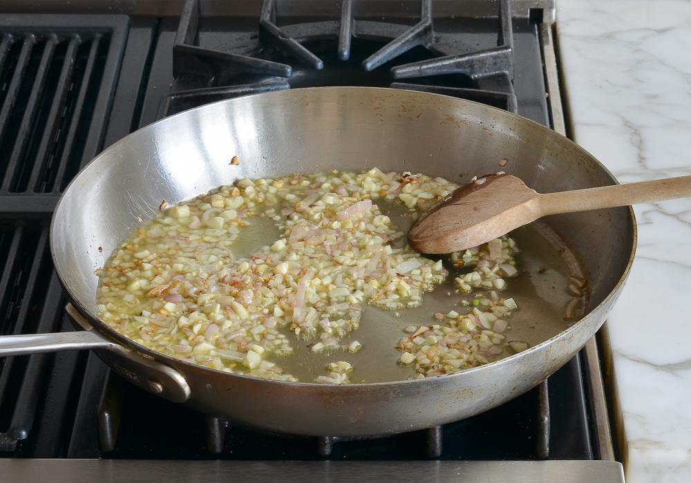 sautéing shallots and garlic