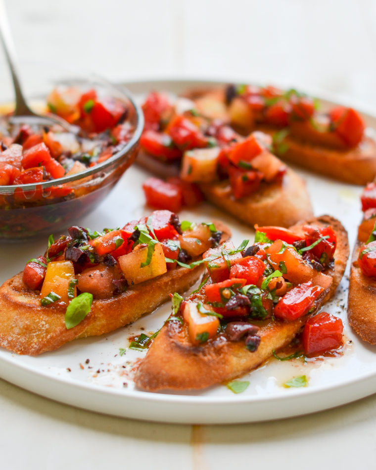 Bruschetta With Heirloom Tomatoes Olives And Basil Once Upon A Chef