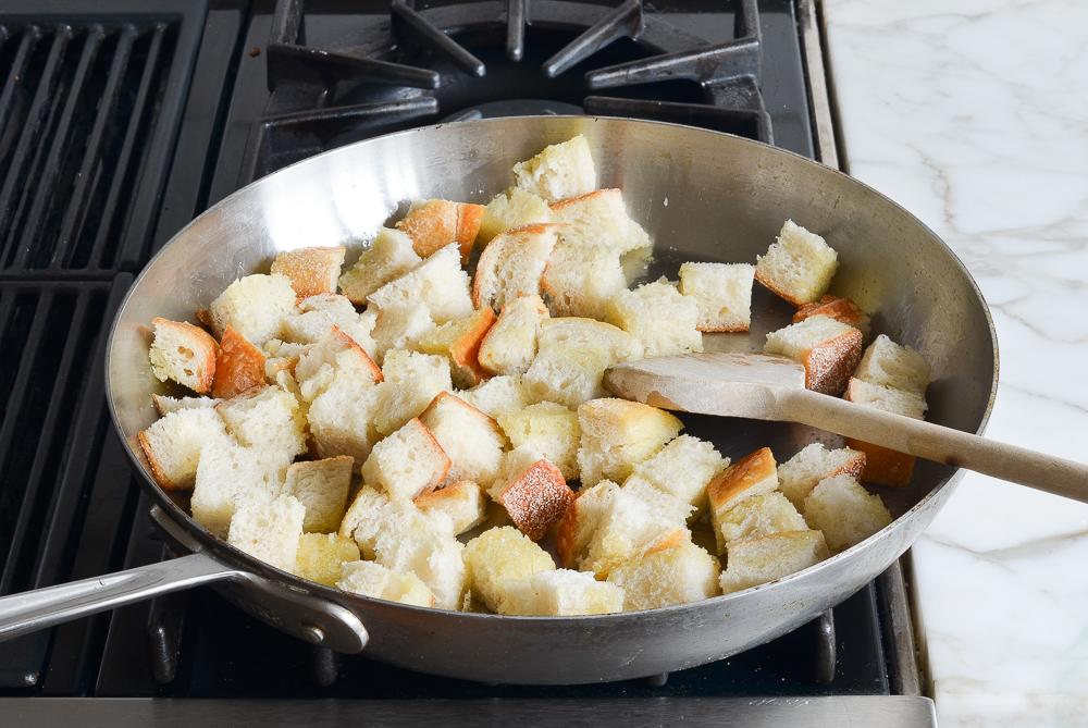 toasting bread in skillet