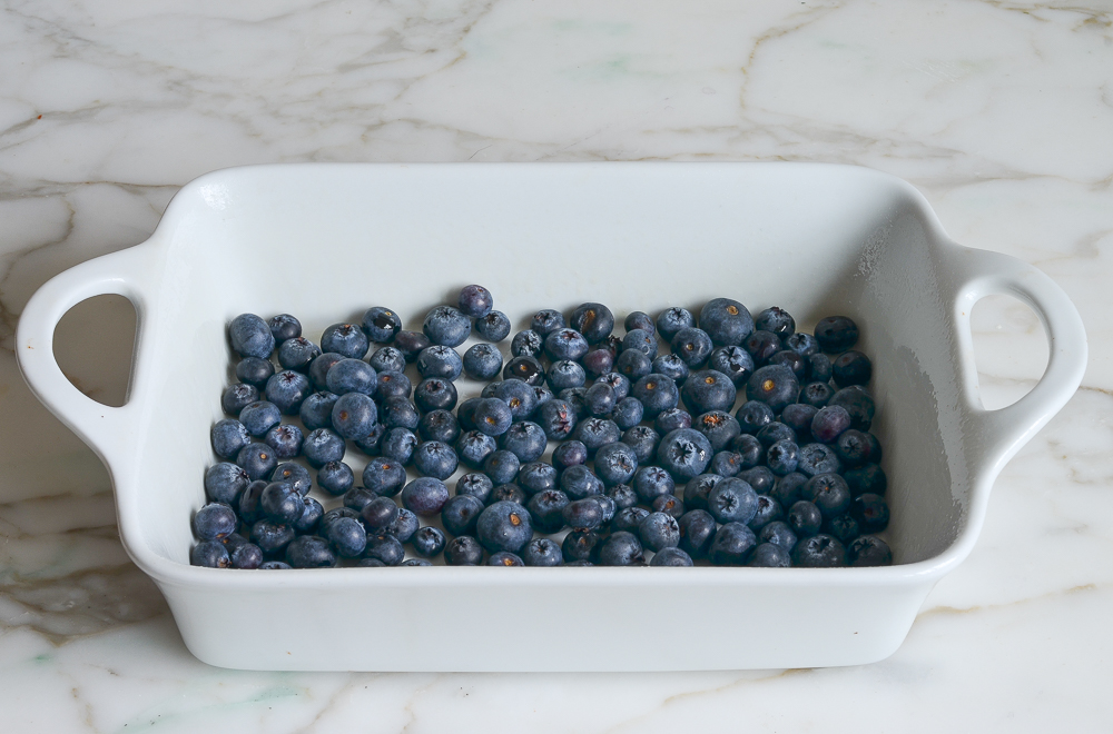 blueberries in baking dish