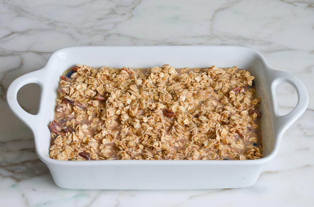 oat mixture in baking dish
