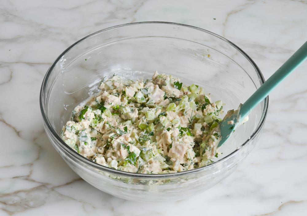 tuna salad in mixing bowl