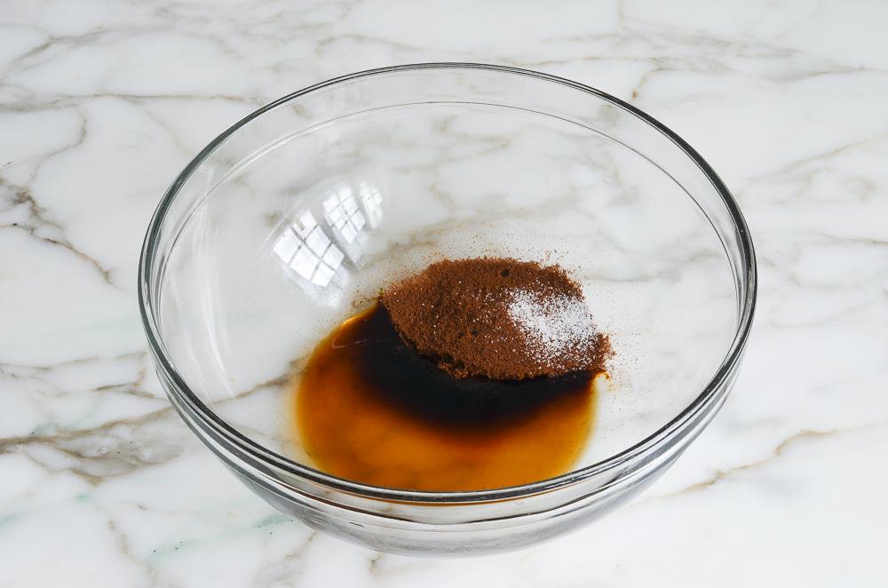 vanilla, espresso powder, and salt in mixing bowl