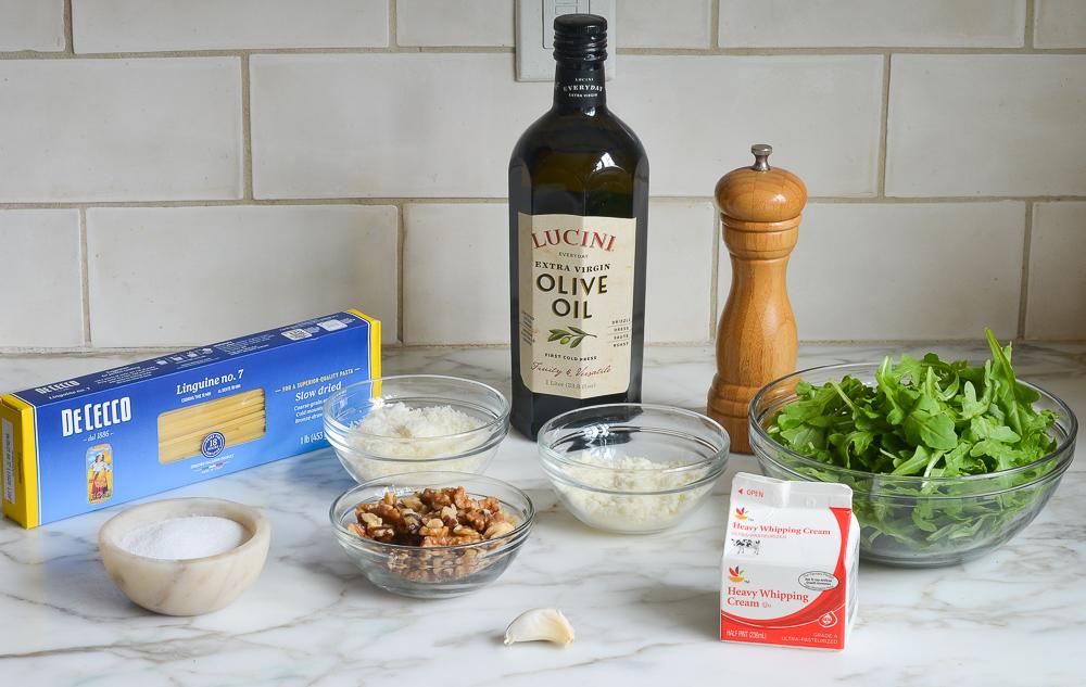 ingredients for linguine with creamy arugula walnut pesto
