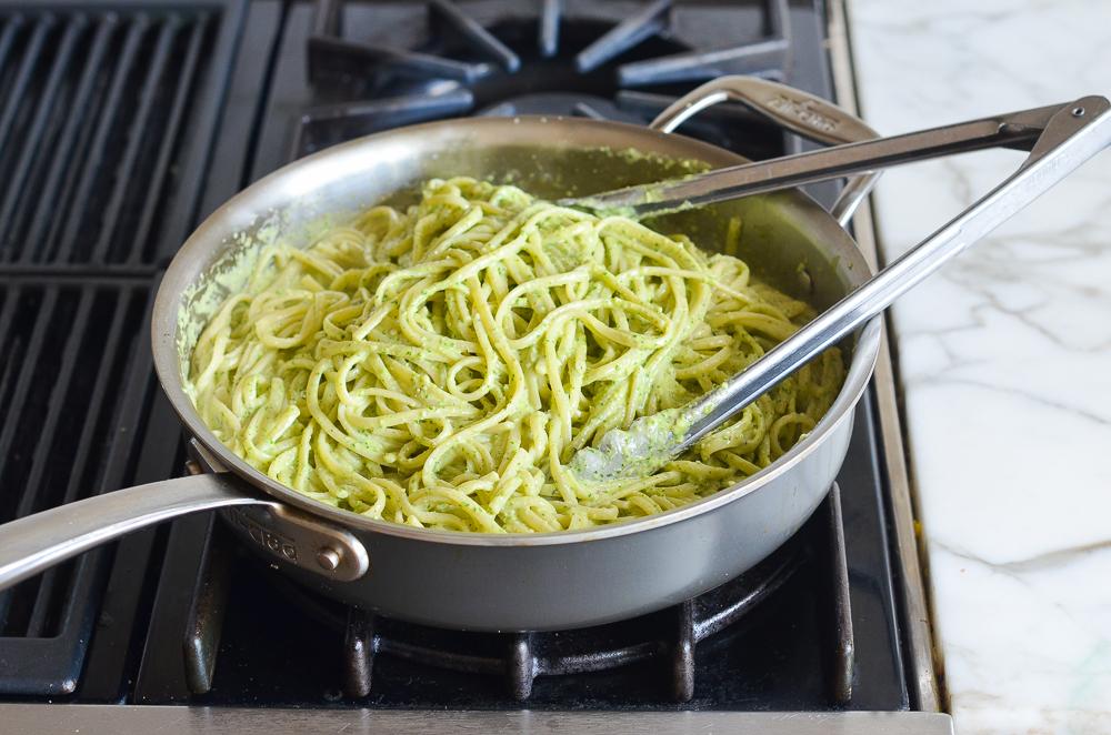 tossed linguine with arugula pesto