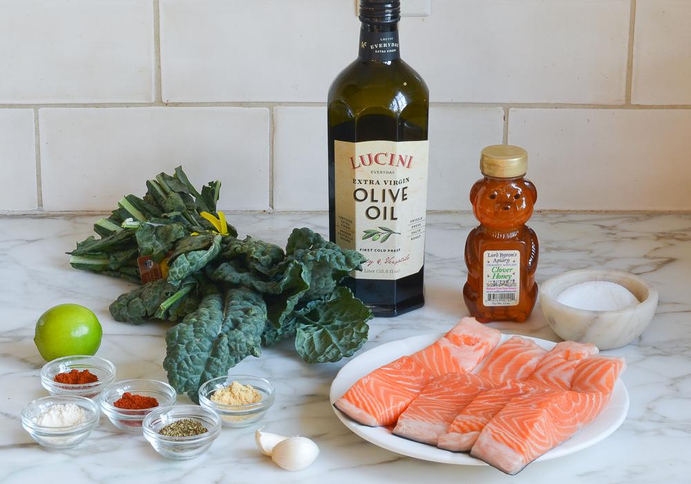 blackened salmon and kale ingredients