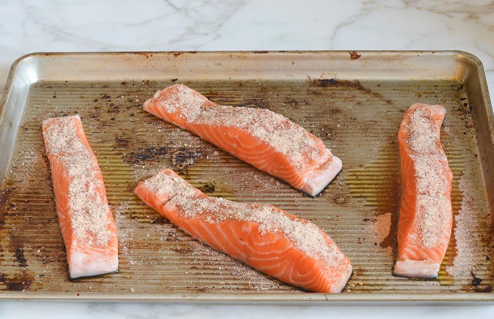 salmon sprinkled with blackening seasoning mix
