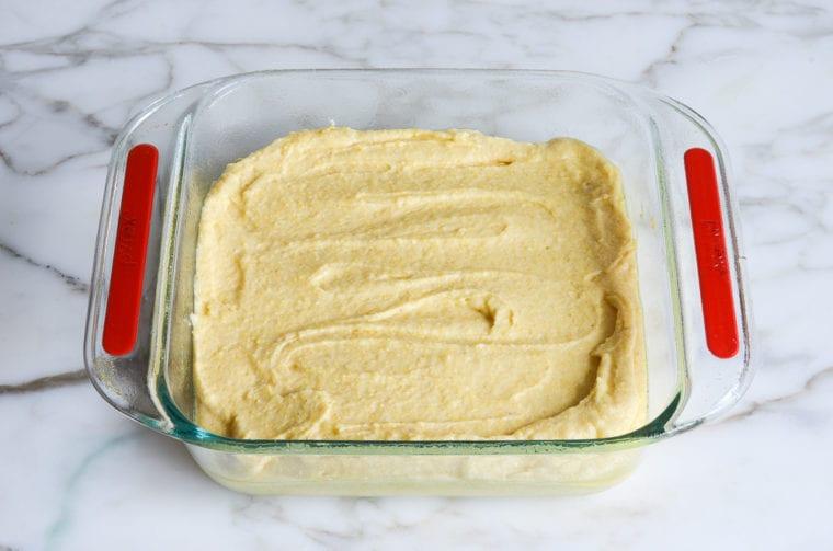 cornbread batter in baking dish