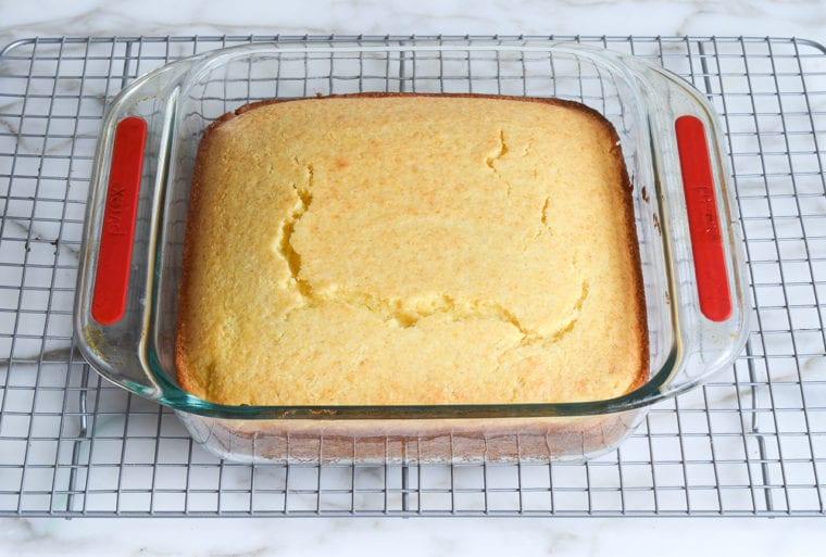 baked cornbread cooling on rack