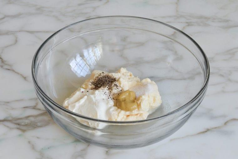 dressing ingredients in bowl