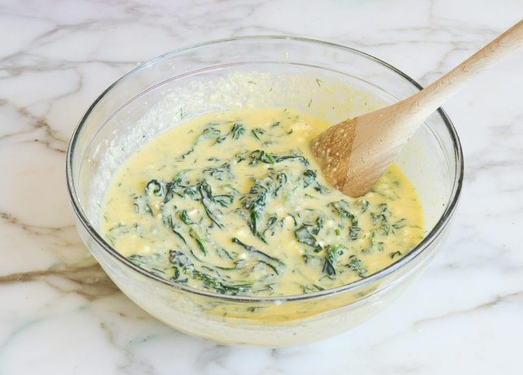 Greek spinach pie batter