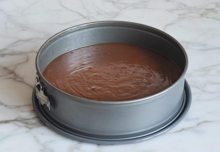 batter poured into springform pan