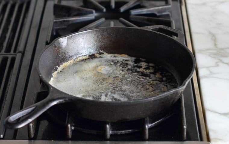 melted butter in skillet