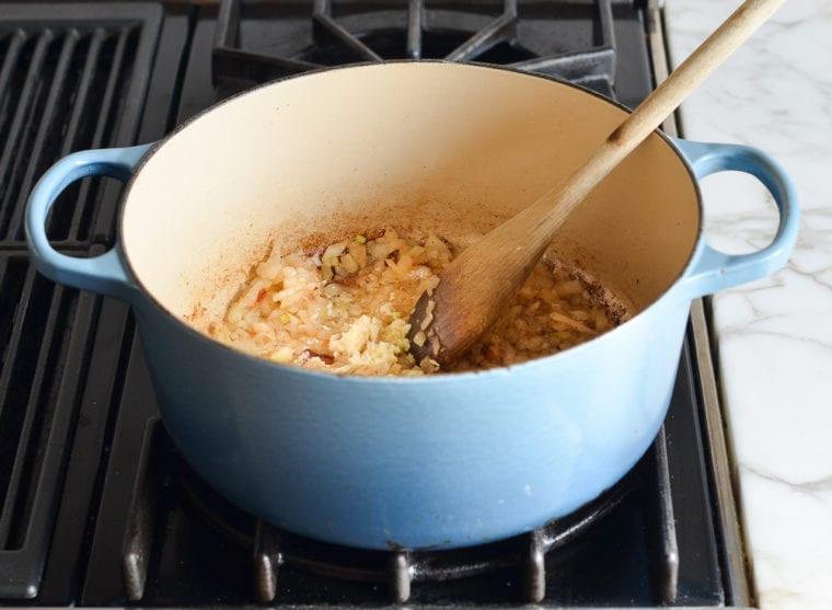 adding garlic
