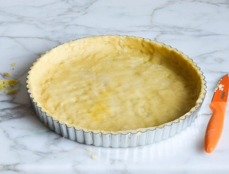 pate sucree pressed into tart pan