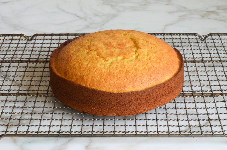 olive oil cake cooling on rack