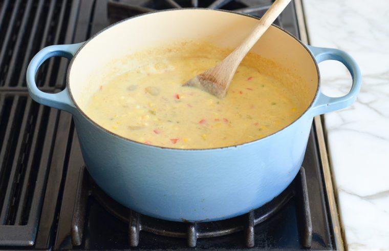simmering corn chowder